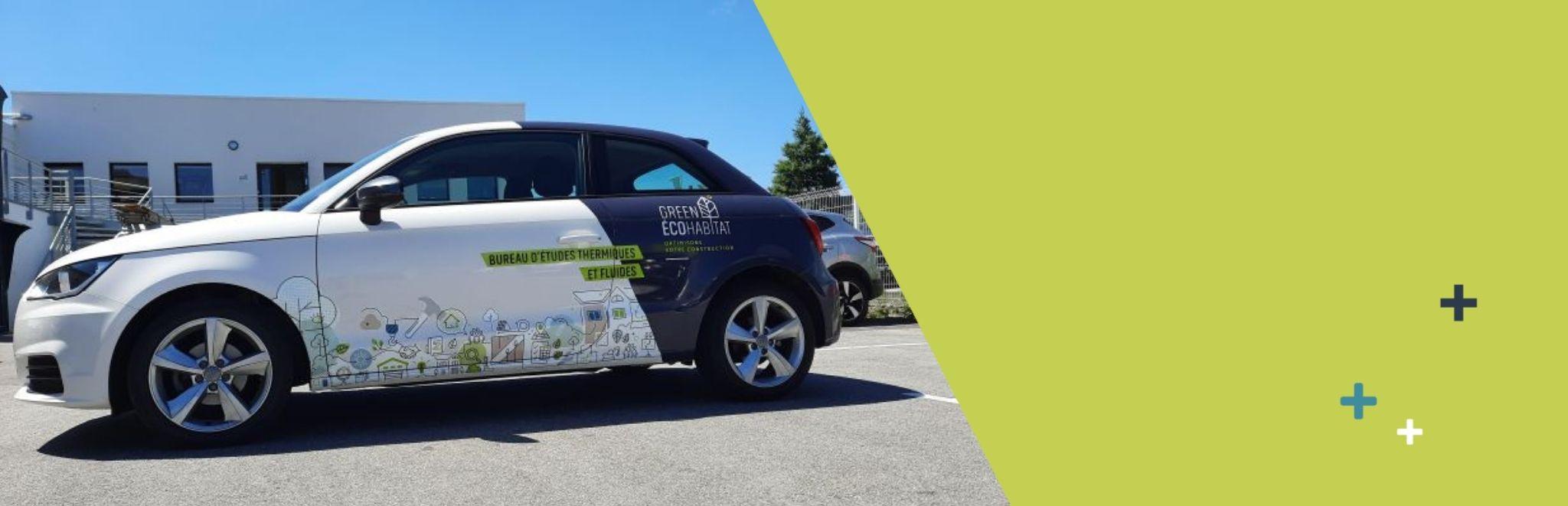 nouvelle voiture logotypée pour green eco habitat